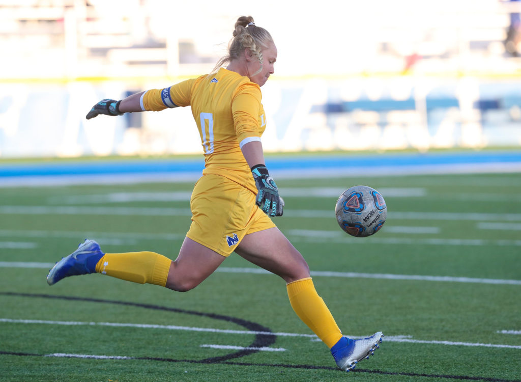 """UNK head women's soccer coach Chloe Roberts calls goalie Allie Prososki the """"perfect example of a student-athlete."""" In addition to her leadership on the field, Prososki is a member of the Health and Physical Education Majors Club, Kappa Delta Pi honor society and Collegiate Middle Level Association, an organization that promotes UNK's middle grades education program while providing networking and professional development opportunities for students. She's also an MIAA Scholar Athlete and four-time MIAA Academic Honor Roll selection."""