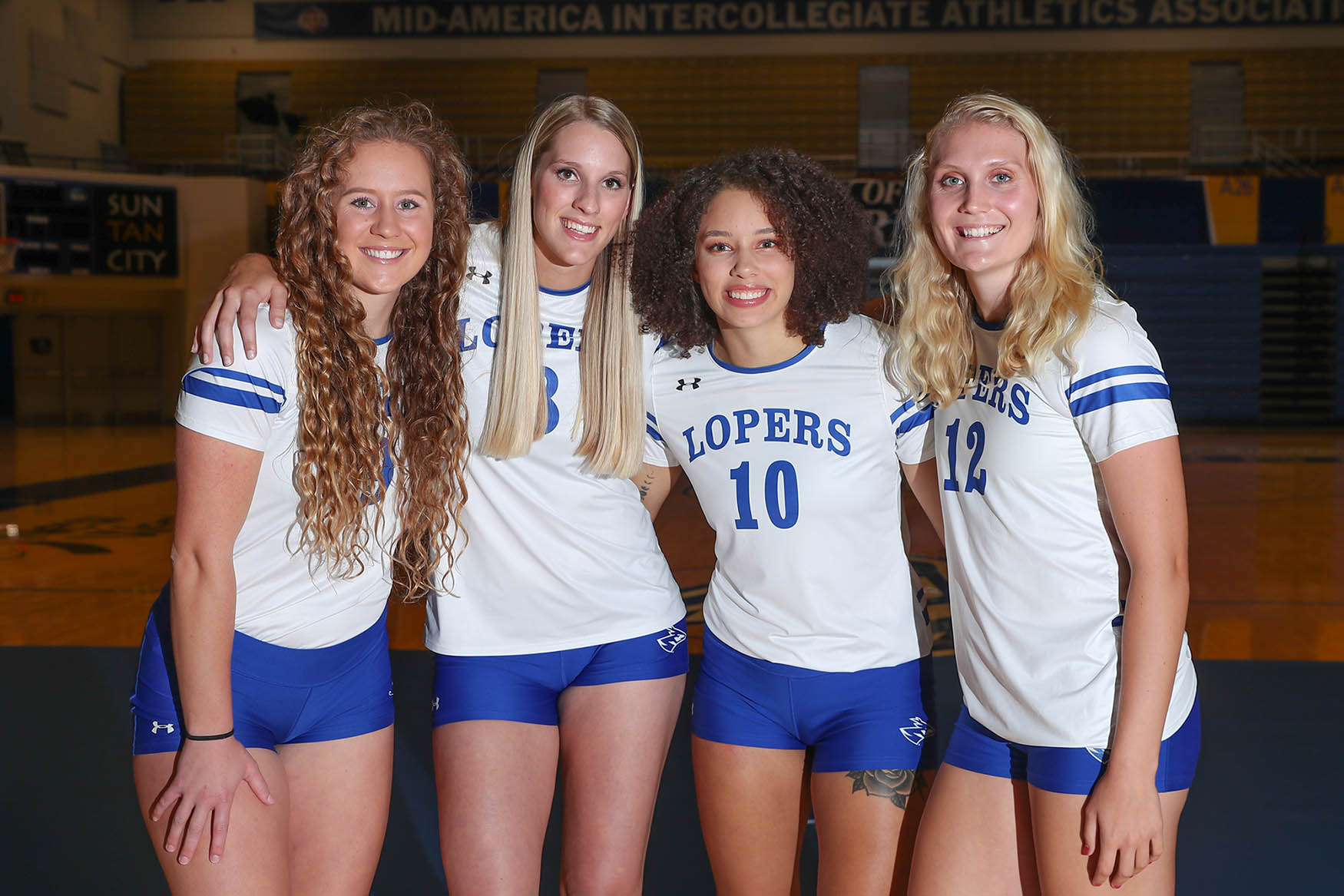 The four seniors on this year's UNK volleyball team are, from left, Emma Benton, Josie Cox, Julianne Jackson and Mackenzie Puckett.