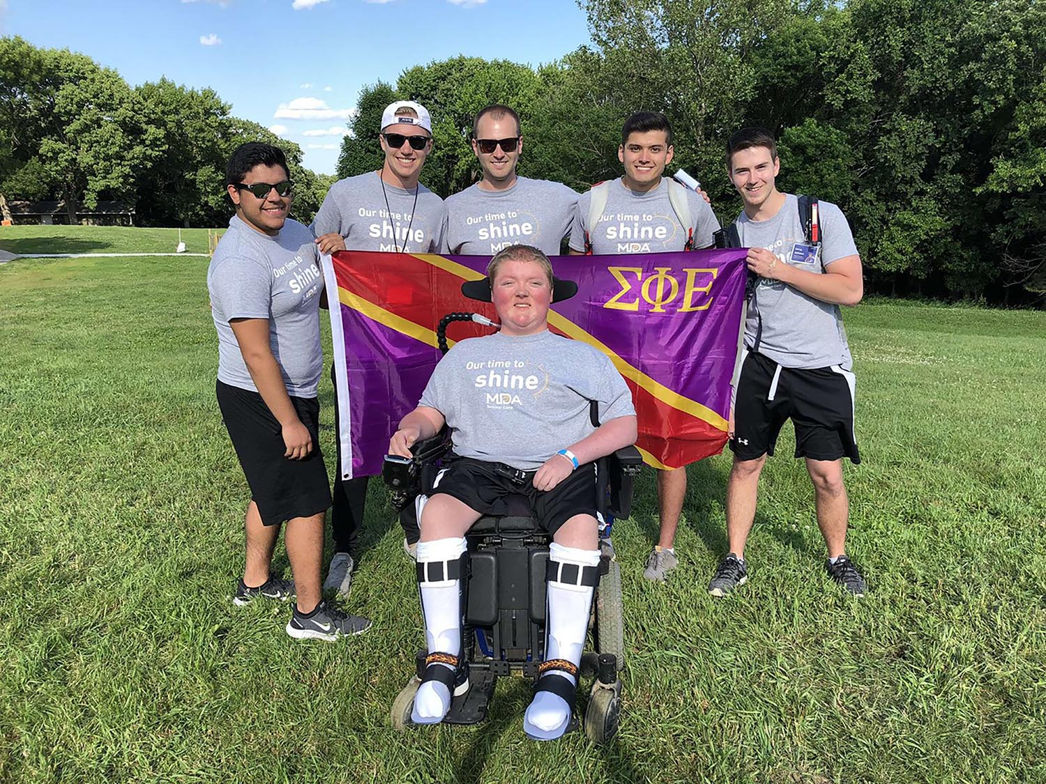 Members of UNK's Sigma Phi Epsilon fraternity volunteer each summer at the Muscular Dystrophy Association camp at Calvin Crest near Fremont. (Courtesy photo)