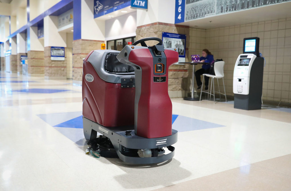 A robotic scrubber introduced last month cleans the floors in UNK's Health and Sports Center. The autonomous machine improves flexibility and efficiency within the custodial team responsible for UNK athletic facilities.