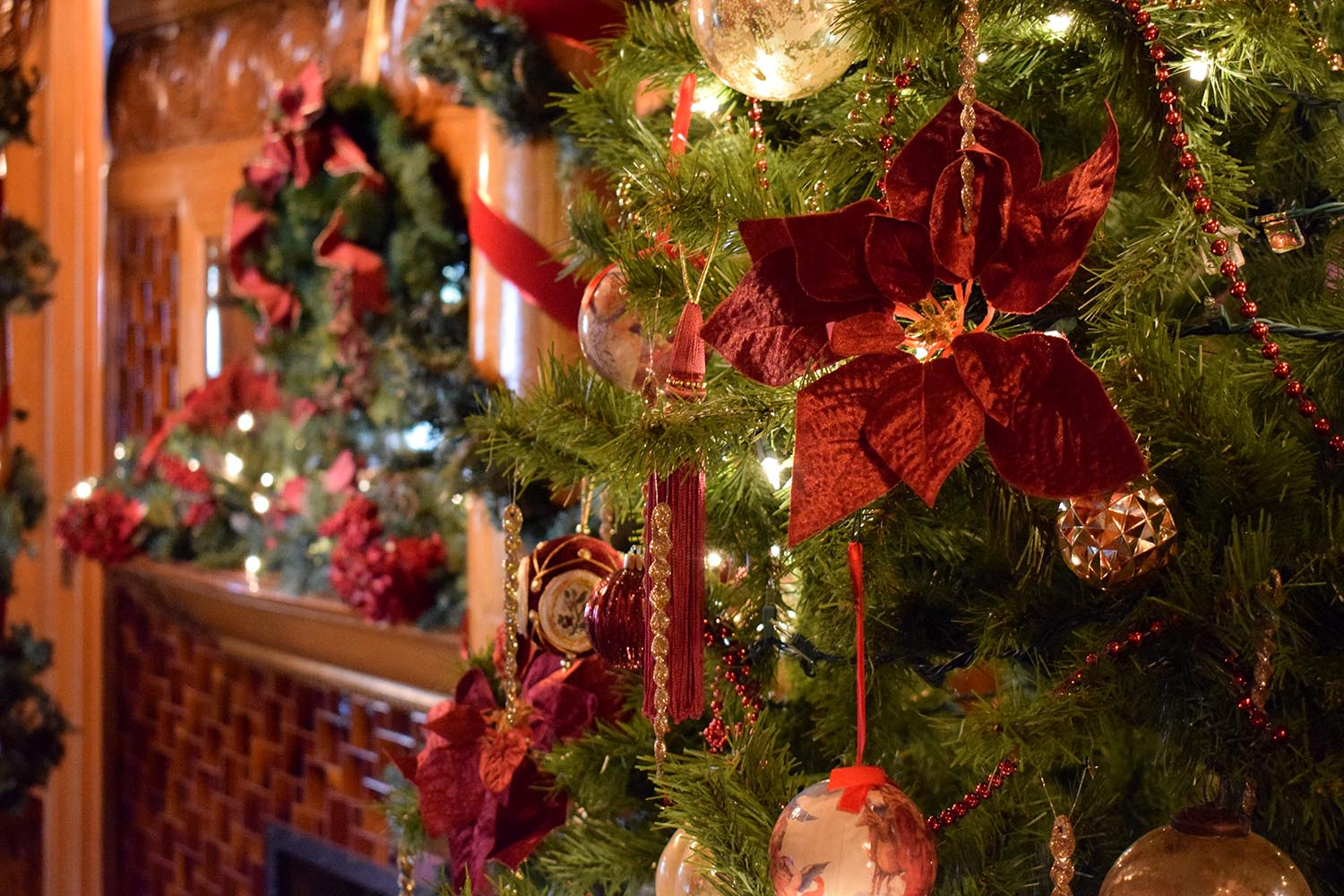 The G.W. Frank Museum of History and Culture will be decorated for the holiday season through Jan. 4. Free hot cocoa and apple cider are available for guests each Saturday. (Photo by April White, G.W. Frank Museum of History and Culture)