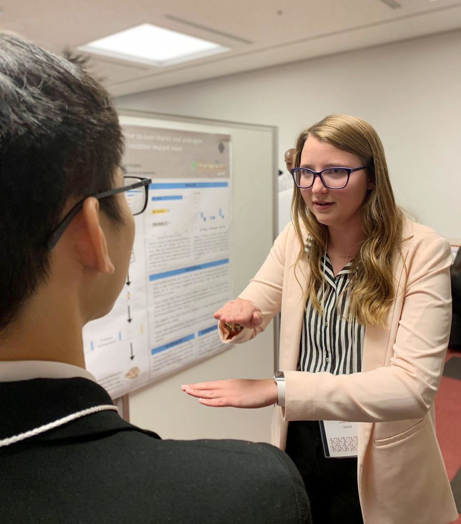 UNK senior Katie Schultis of Diller presents her research project during the Asian Undergraduate Research Symposium in Tokyo.
