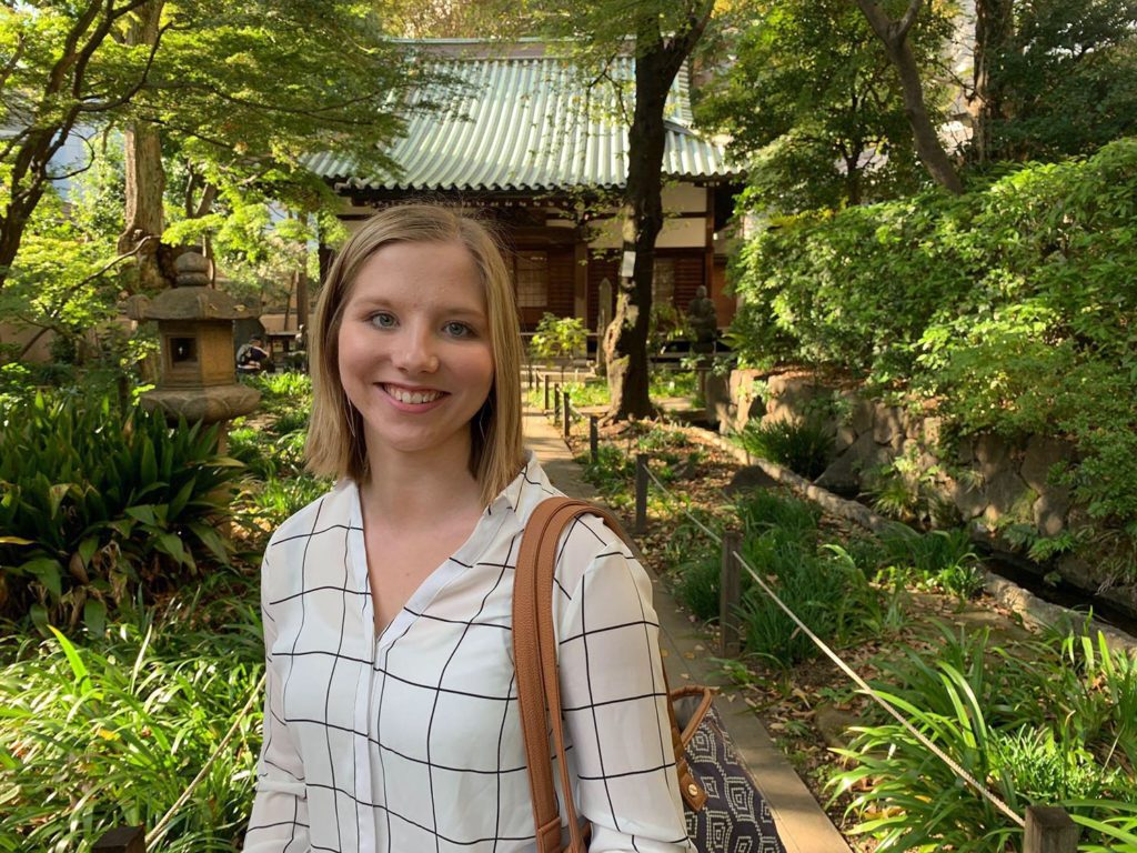 Haley Pierce, a UNK senior from West Point, poses for a photo during a recent trip to Tokyo.