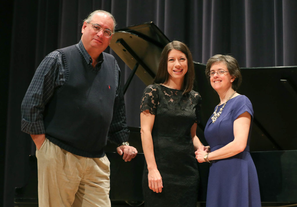 UNK associate professor of teacher education Dawn Mollenkopf, right, worked with vocal music professor Andrew White and accompanist Kim Rehtus, an office associate in UNK's Department of Teacher Education, while preparing for Sunday's voice recital.