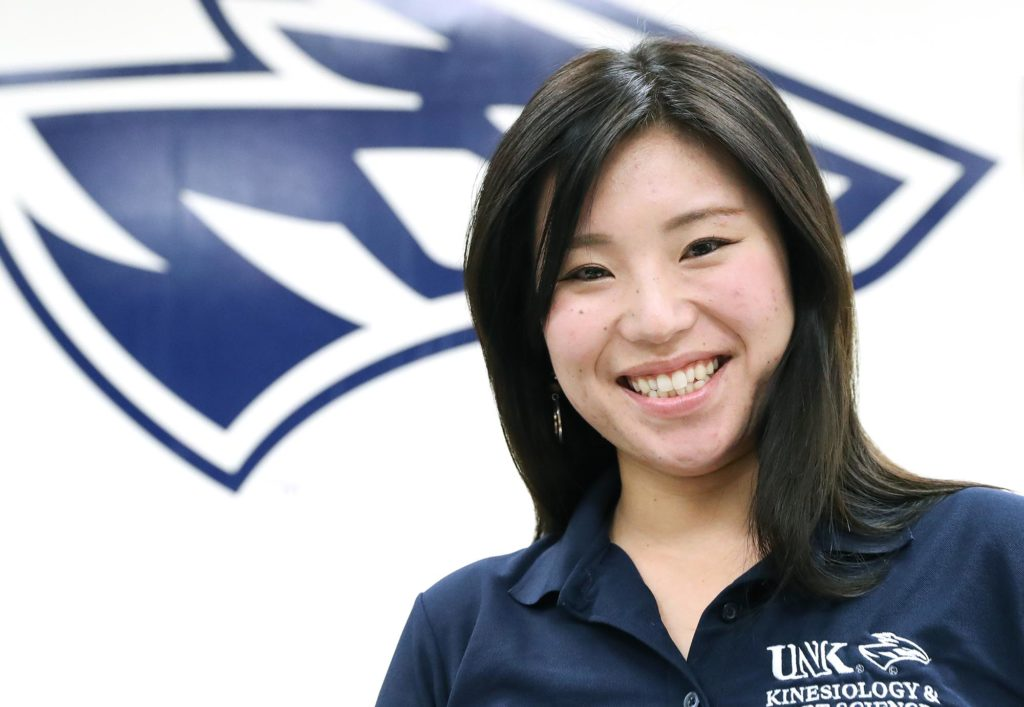 Yui Hayashi, a native of Osaka, Japan, is pursuing a master's degree in sports administration at UNK, where she earned a bachelor's in athletic training in spring 2018. (Photos by Corbey R. Dorsey, UNK Communications)
