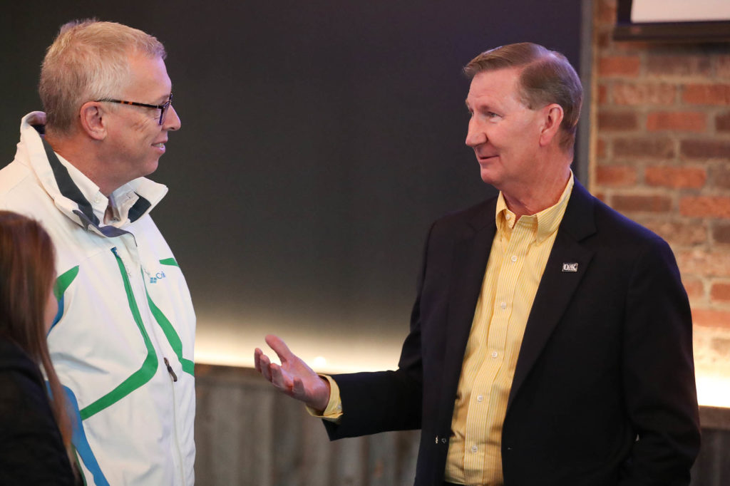 Ted Carter, right, the priority candidate to serve as the University of Nebraska's eighth president, met with community members Saturday at Cunningham's on the Lake. (Photo by Corbey R. Dorsey, UNK Communications)