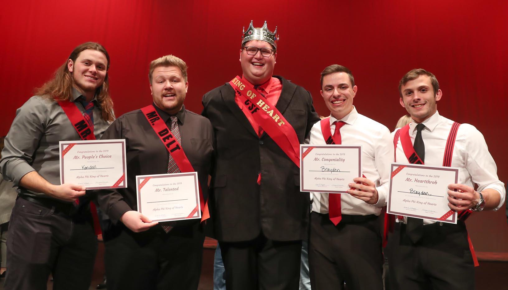From left, Kendall Raschein, Brady Deprez, Adam Schultis, Austin Jacobsen and Brayden Wills.