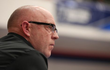 UNK head volleyball coach Rick Squiers, pictured during Saturday's NCAA Division II national championship match in Denver, called this year's team one of the best in UNK Athletics history.