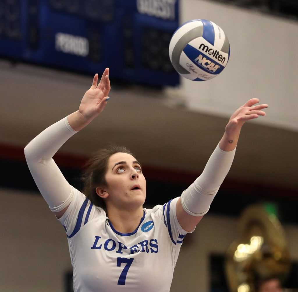 UNK junior Anna Squiers serves during Saturday's NCAA Division II national championship match against Cal State San Bernardino.