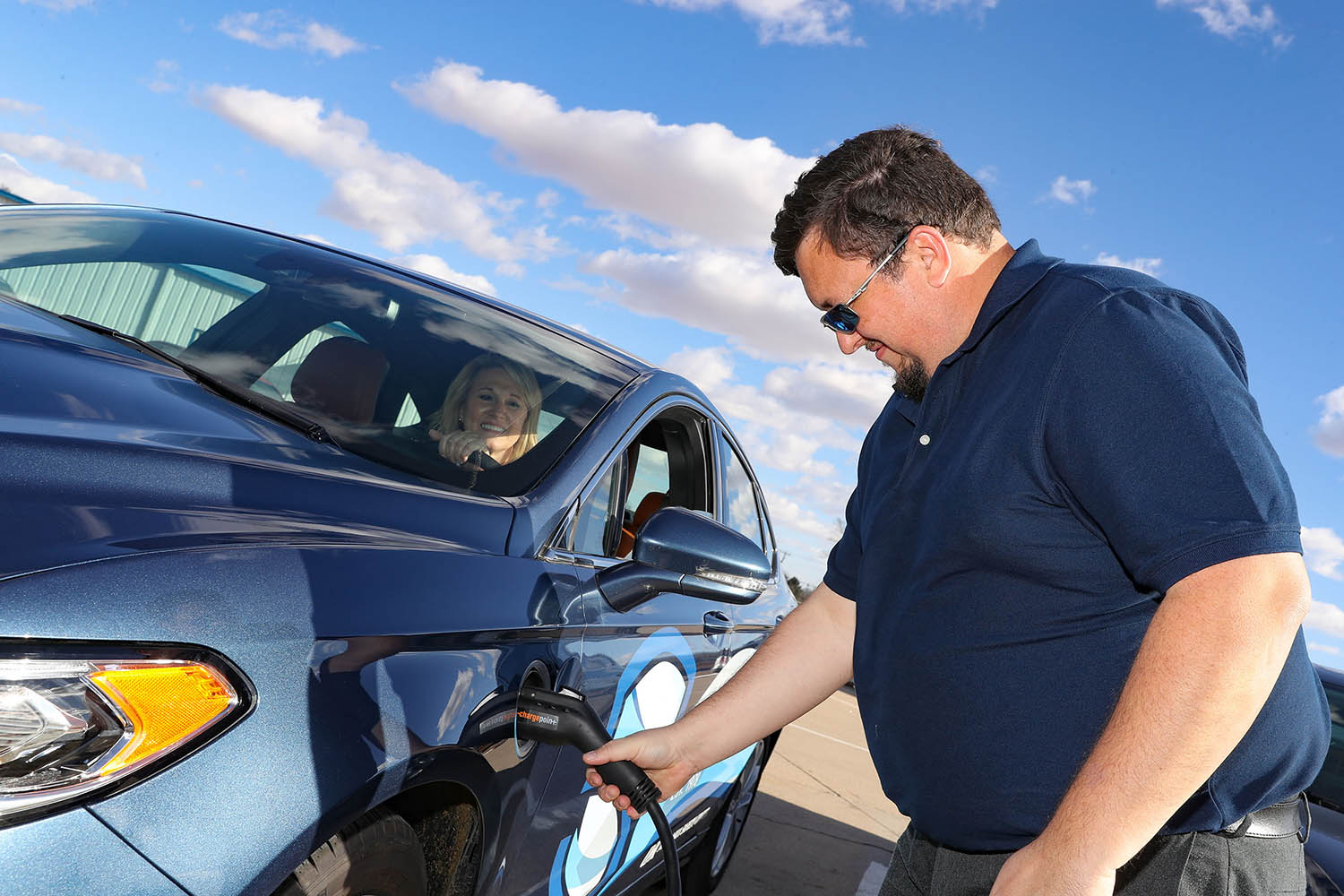 The Nebraska Safety Center now has an electric vehicle and charging station that will be used for its driver education program. (Photos by Corbey R. Dorsey, UNK Communications)