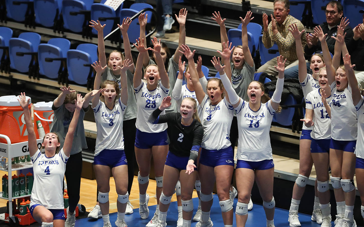UNK's sideline celebrations provide energy and entertainment during Loper volleyball matches. (Photo by Corbey R. Dorsey, UNK Communications)