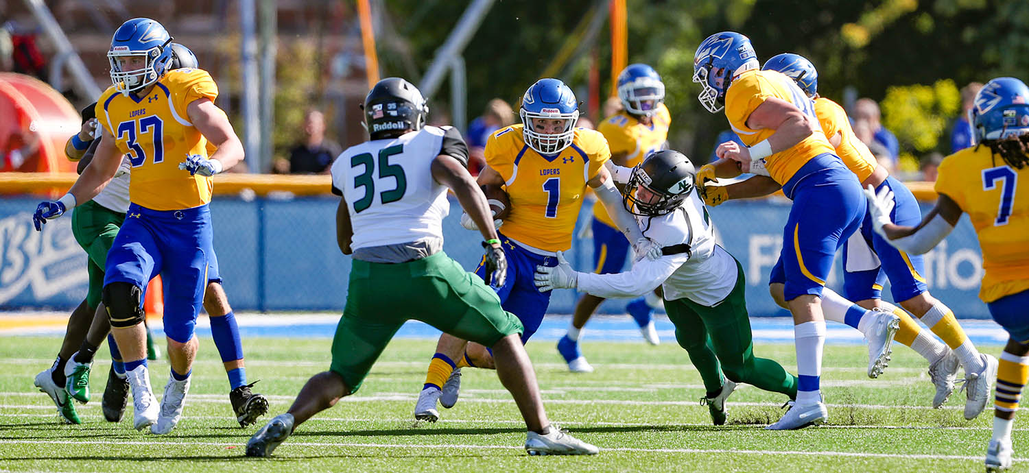 Scottsdale, Arizona, native Luke Quinn (1) returned to UNK for a sixth season in 2019. He's currently pursuing a master's degree in clinical mental health counseling. (UNK Communications)