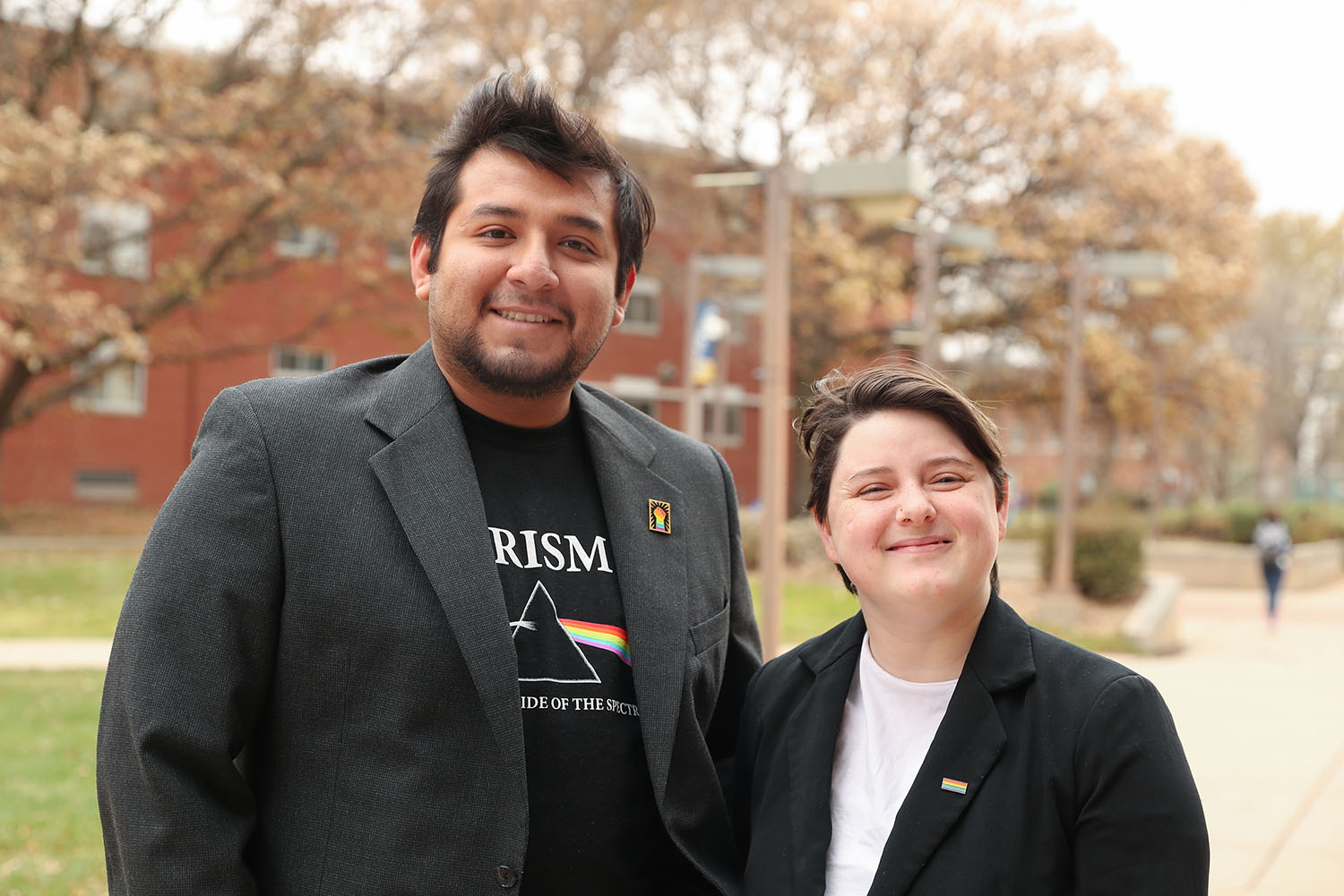 UNK seniors Eduardo Tecla and Shelby Nethercot are members of the PRISM student organization, which promotes awareness of the LGBTQIA+ community and provides a safe, welcoming space on campus for LGBTQIA+ students and allies. Tecla is the group's president and Nethercot serves as a secondary adviser. (Photos by Corbey R. Dorsey, UNK Communications)