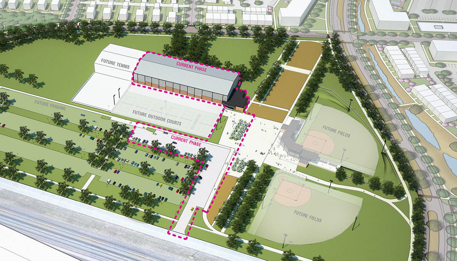 UNK and the city of Kearney are partnering on a project that adds an indoor tennis complex to UNK's University Village development. The city will construct, own and operate the six-court tennis complex, with UNK providing operational and maintenance support. (Courtesy The Clark Enersen Partners)