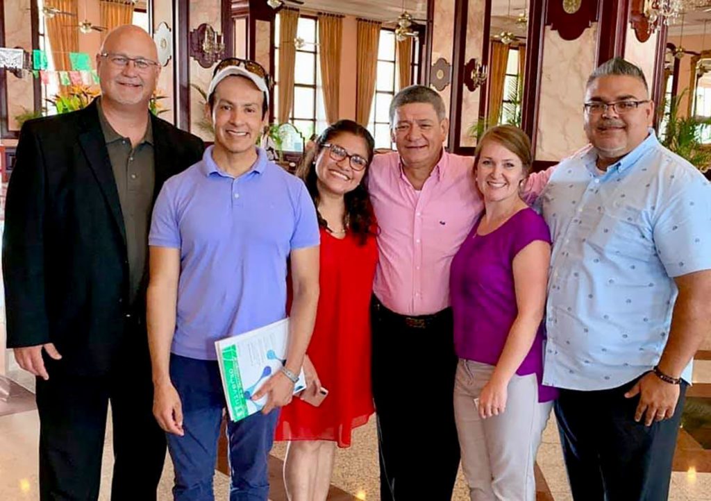 Representatives from UNK attended last year's DELFIN research conference in Nuevo Vallarta, Mexico. Pictured, from left, are Tim Burkink, UNK assistant vice chancellor for international affairs; UNK chemistry professor Hector Palencia; Charito Tavara Sabalu, the DELFIN coordinator for Peru; Carlos Jimenez, general coordinator of the DELFIN research program; Traci Gunderson, an assistant director in UNK's Office of International Education; and Juan Guzman, director of UNK's Office of Student Diversity and Inclusion.
