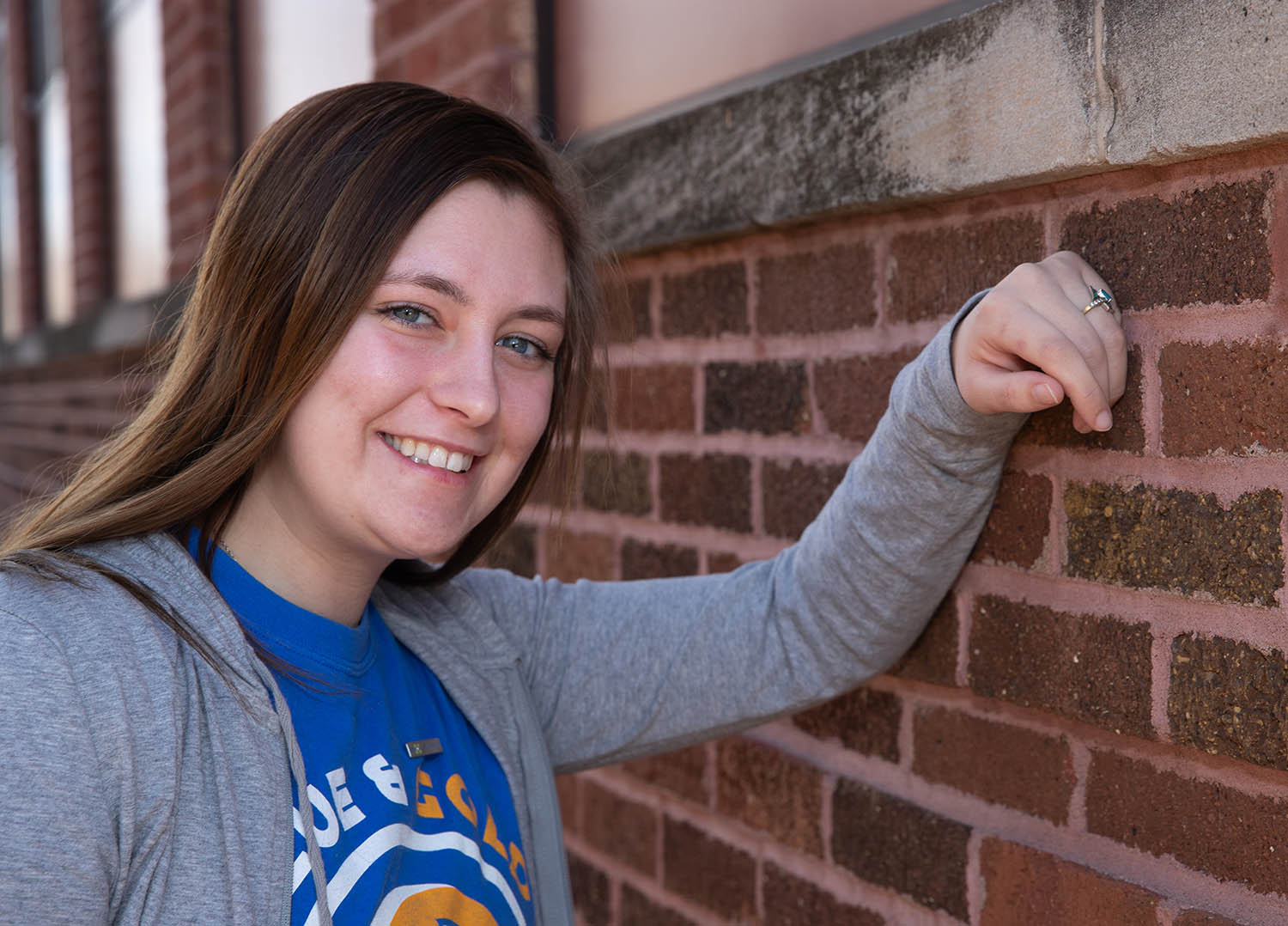 "UNK student Autumn Ickler, a junior from Plainview, recently donated bone marrow to a 54-year-old woman battling acute myeloid leukemia. ""I didn't choose to give her my bone marrow just because she has cancer,"" Ickler said. ""I chose to give her my bone marrow because I want her kids to have more time with their mom, so she could smile again, so she could have more time on this Earth. I want her to have her life back."" (Photo by Corbey R. Dorsey, UNK Communications)"