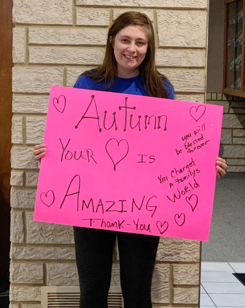 A family member made this poster for Autumn Ickler when she was released from the Plainview hospital. (Courtesy photo)