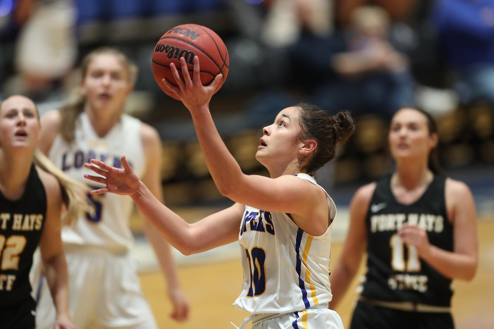 Haley Simental, who spent four seasons at the University of Denver before transferring to UNK, is averaging a team-best 12.2 points per game in her first season with the Lopers. She also leads the team in minutes played (723), 3-pointers (56) and assists (92). (Photos by Corbey R. Dorsey, UNK Communications)