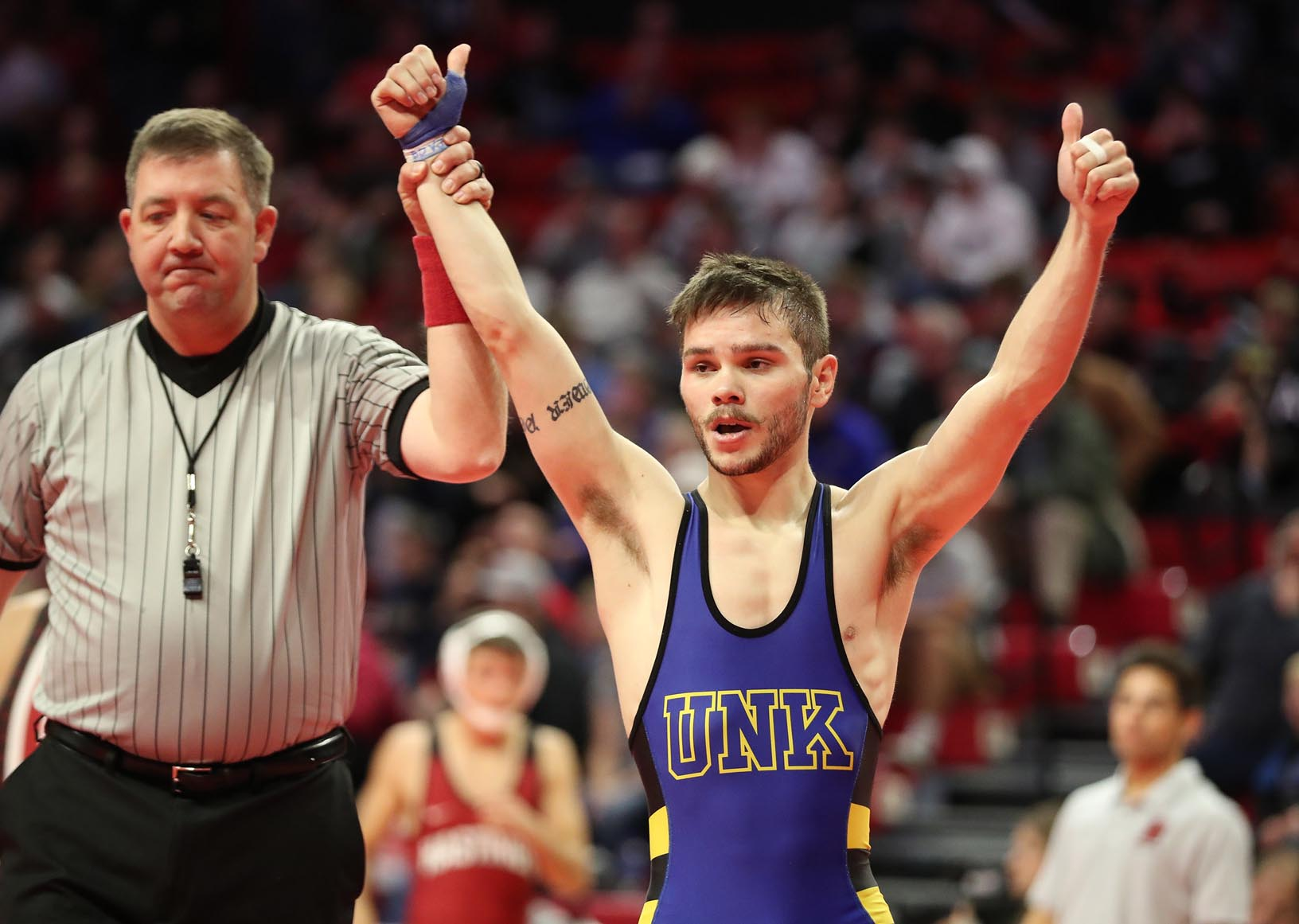 Redshirt junior Josh Portillo is a two-time All-American wrestler for UNK. He finished fifth at the NCAA Division II Championships in 2018 and took second place last year. (Photo by Corbey R. Dorsey, UNK Communications)