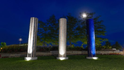 """The Three Koneko Columns at Yanney Heritage Park is among artwork featured in a new booklet, """"Kearney Art: Going Public,"""" produced by the University of Nebraska at Kearney. (Photo by Corbey R. Dorsey, UNK Communications)"""