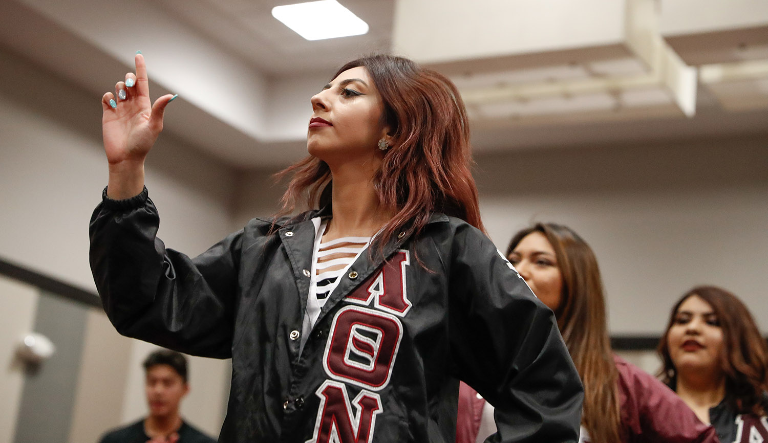 The Lambda Theta Nu sorority is one of three multicultural Greek organizations that will be competing in a stepping/strolling event Saturday evening in the Ponderosa Room at UNK's Nebraskan Student Union. (Photo by Corbey R. Dorsey, UNK Communications)