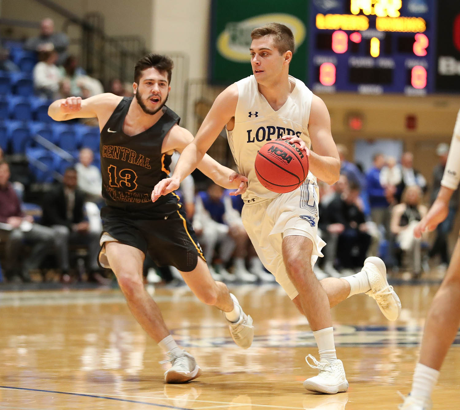 Redshirt senior Morgan Soucie is having a breakout season for the UNK men's basketball team. He leads the Lopers in minutes played, points, rebounds, assists and blocks. (Photos by Corbey R. Dorsey, UNK Communications)