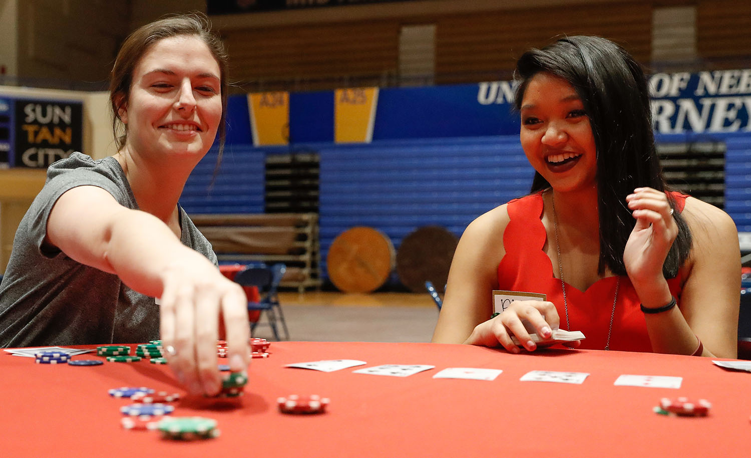 Alpha Phi's annual Red Dress Poker and Pitch Tournament is scheduled for March 5 in UNK's Health and Sports Center. The event raises money for the Alpha Phi Foundation, which supports women's heart health education and research. (Photos by Corbey R. Dorsey, UNK Communications)