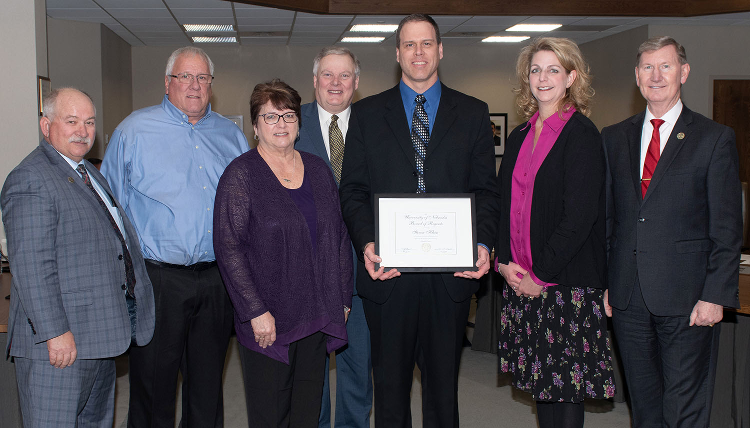 Steven Klein was recognized with the KUDOS award at last week's University of Nebraska Board of Regents meeting.