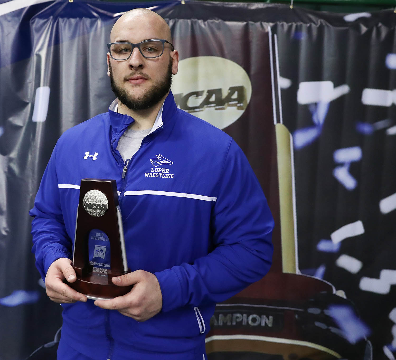 Jarrod Hinrichs was a two-time All-American at UNK, finishing second at the NCAA Division II Wrestling Championships in 2019 and eighth in 2018. His quest for a national championship ended March 12, when the NCAA canceled all remaining winter and spring championships because of the ongoing coronavirus (COVID-19) outbreak.