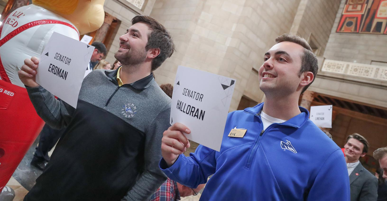 "Trey Janicek, left, and Max Beal participate in ""I Love NU Advocacy Day"" at the Capitol in Lincoln."