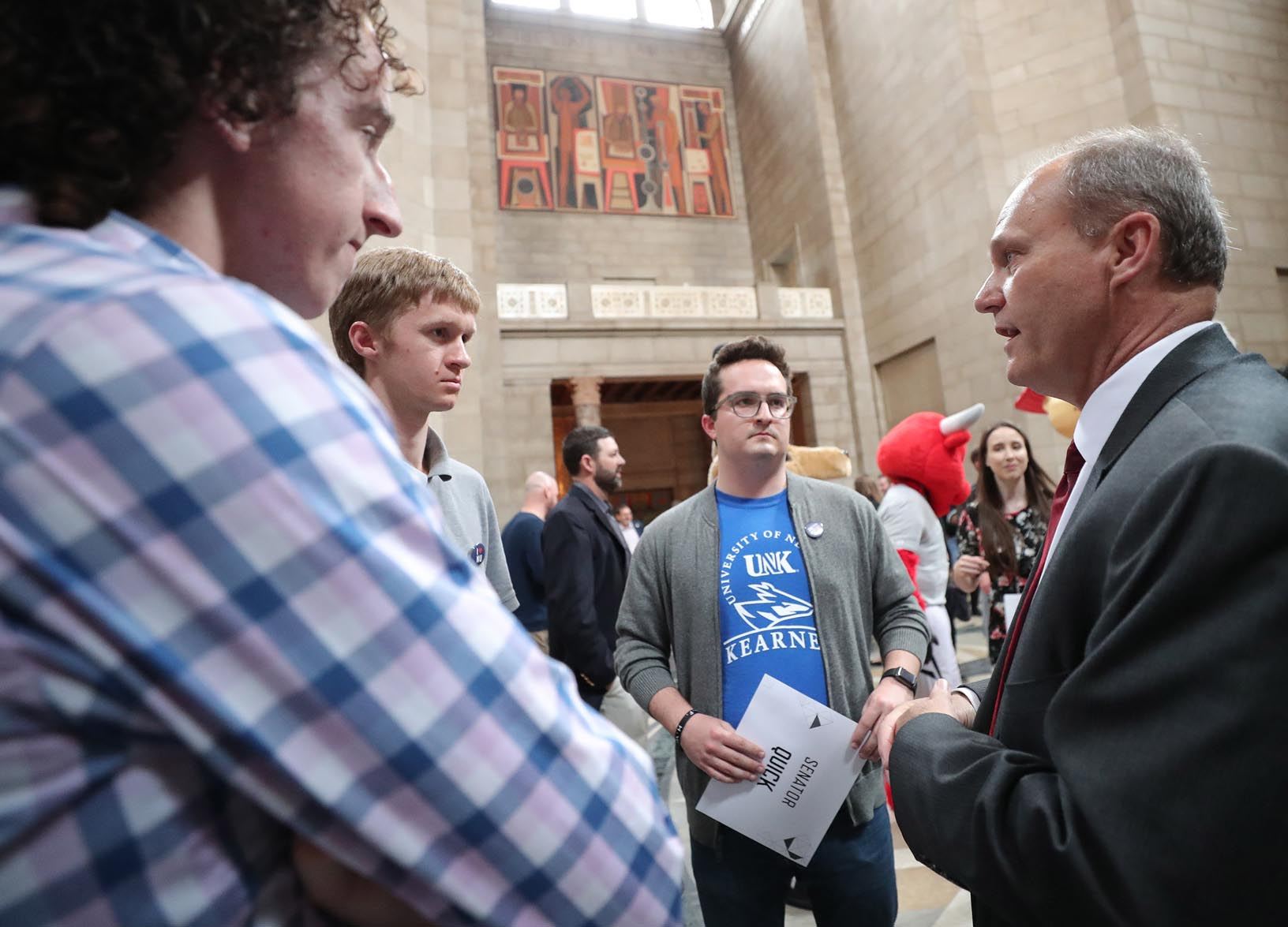 "State Sen. Dan Quick of Grand Island, right, meets with UNK students during ""I Love NU Advocacy Day."""