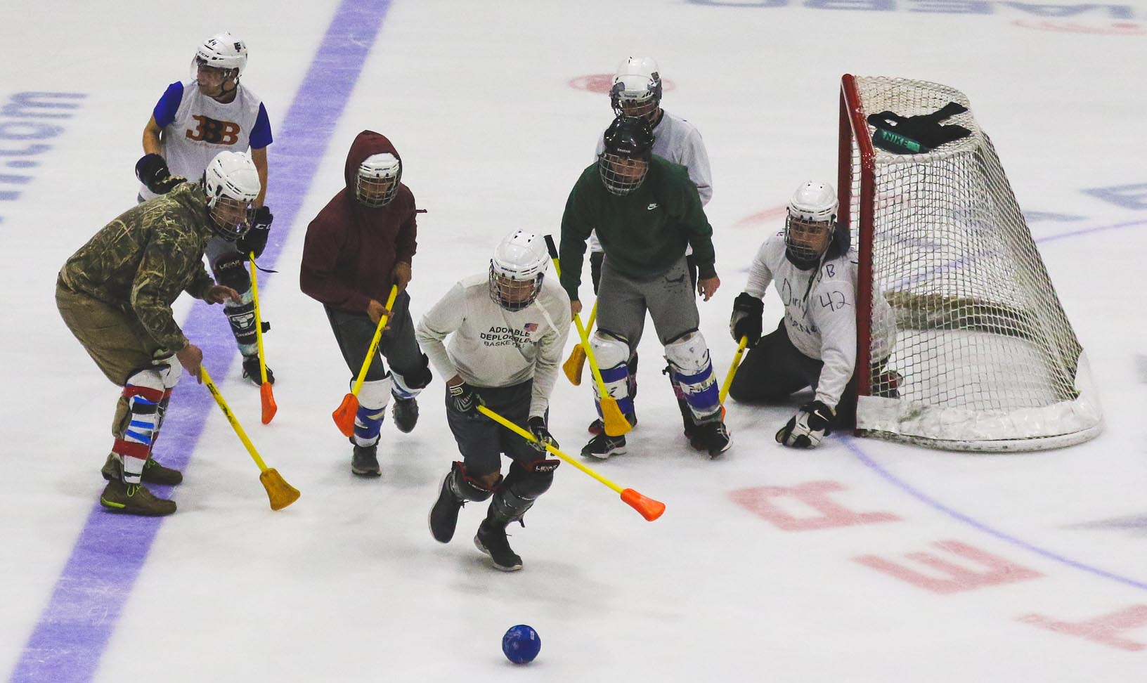 Broomball, a hockey-like game played at Kearney's Viaero Center, is among the intramural sports and activities offered by UNK Campus Recreation.