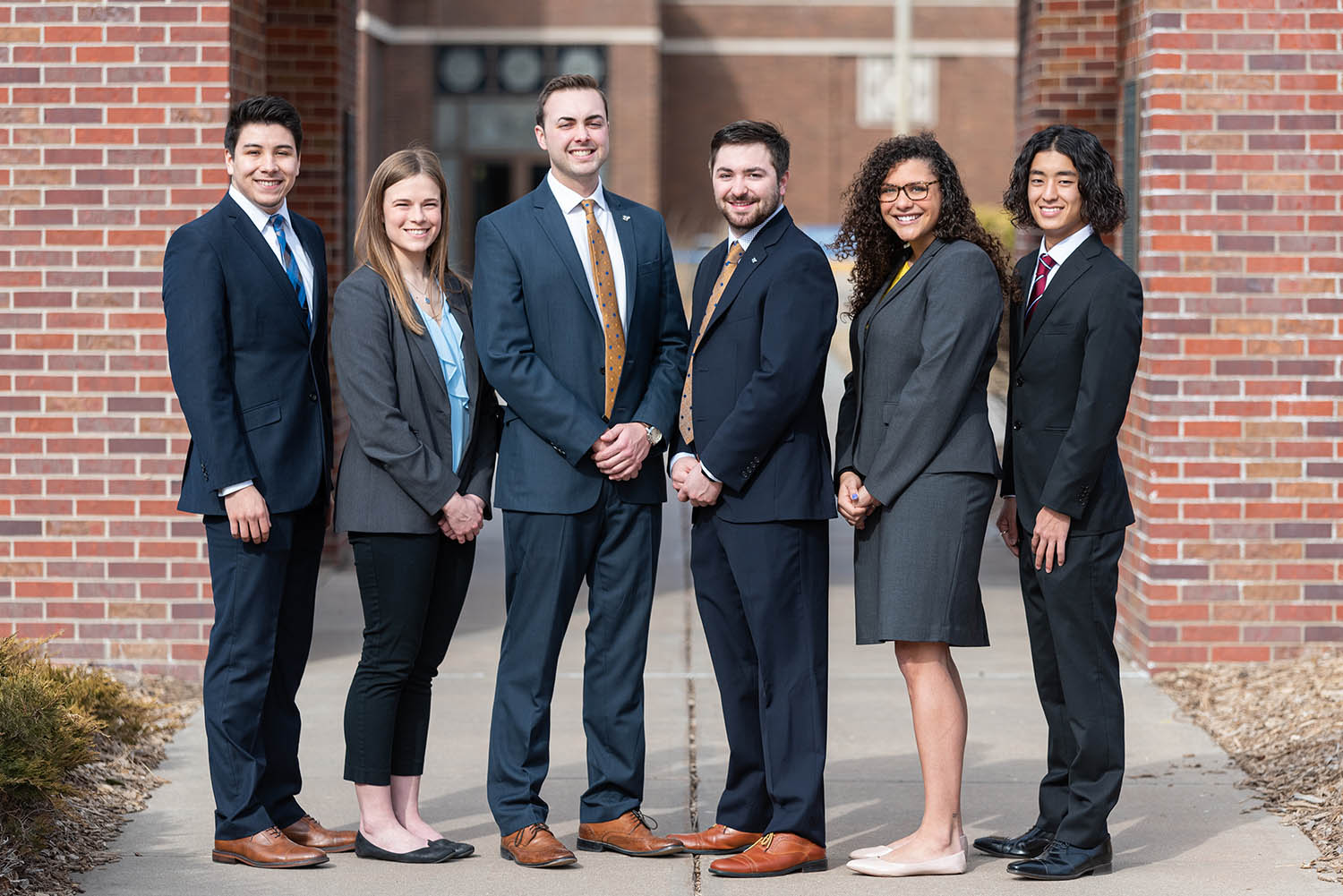 Max Beal, third from left, and Trey Janicek, fourth from left, will serve as UNK student body president and vice president for 2020-21. Their executive cabinet members are, from left, Chief of Staff Adrian Gomez Ramos, Secretary of Community Relations Ashly Helfrich, Secretary of Student Organizations and Affairs Olivia Slater and Secretary of the Treasury Kosuke Yoshii. (Courtesy photos)