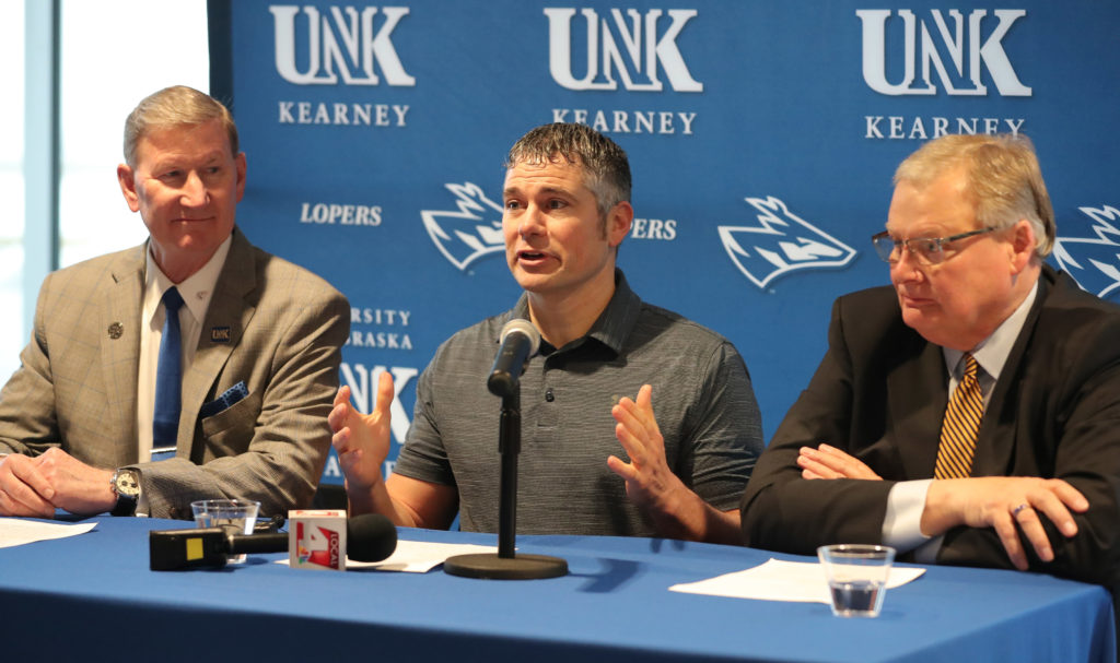 Investor Scott Rief, middle, University of Nebraska President Ted Carter, left, and UNK Chancellor Doug Kristensen discuss the Millennium Housing project at a Monday news conference. The $48 million privately funded development is being built at UNK's University Village.