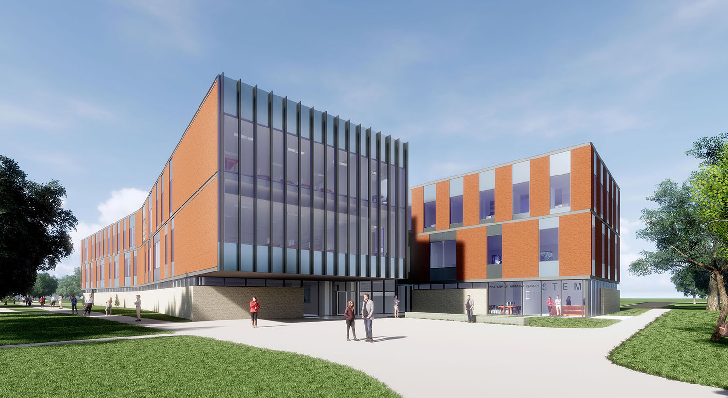 Discovery Hall, shown in an artist's rendition, is nearing completion on UNK's west campus.