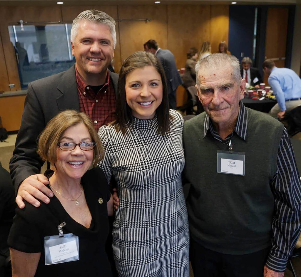 Megan Helberg is pictured with her husband Dan and parents Sue and Tom McNeil during the Nebraska Teacher of the Year banquet in November.
