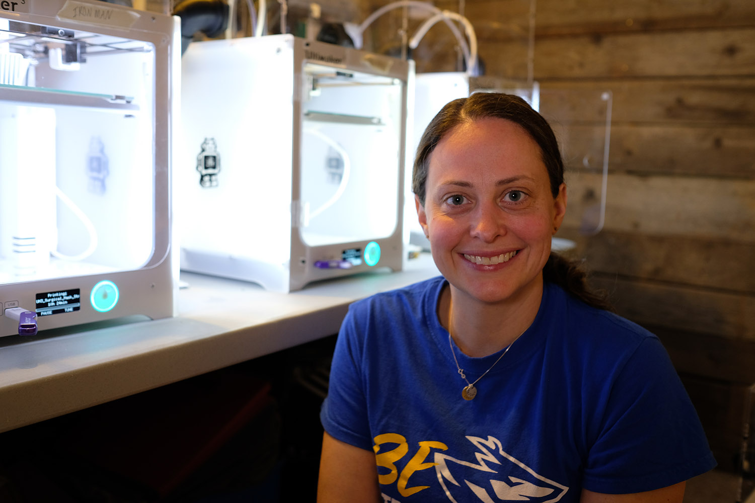 Associate chemistry professor Kristy Kounovsky-Shafer is using 3D printers from her UNK research lab to produce protective equipment for health care workers and emergency responders. (Courtesy photos)