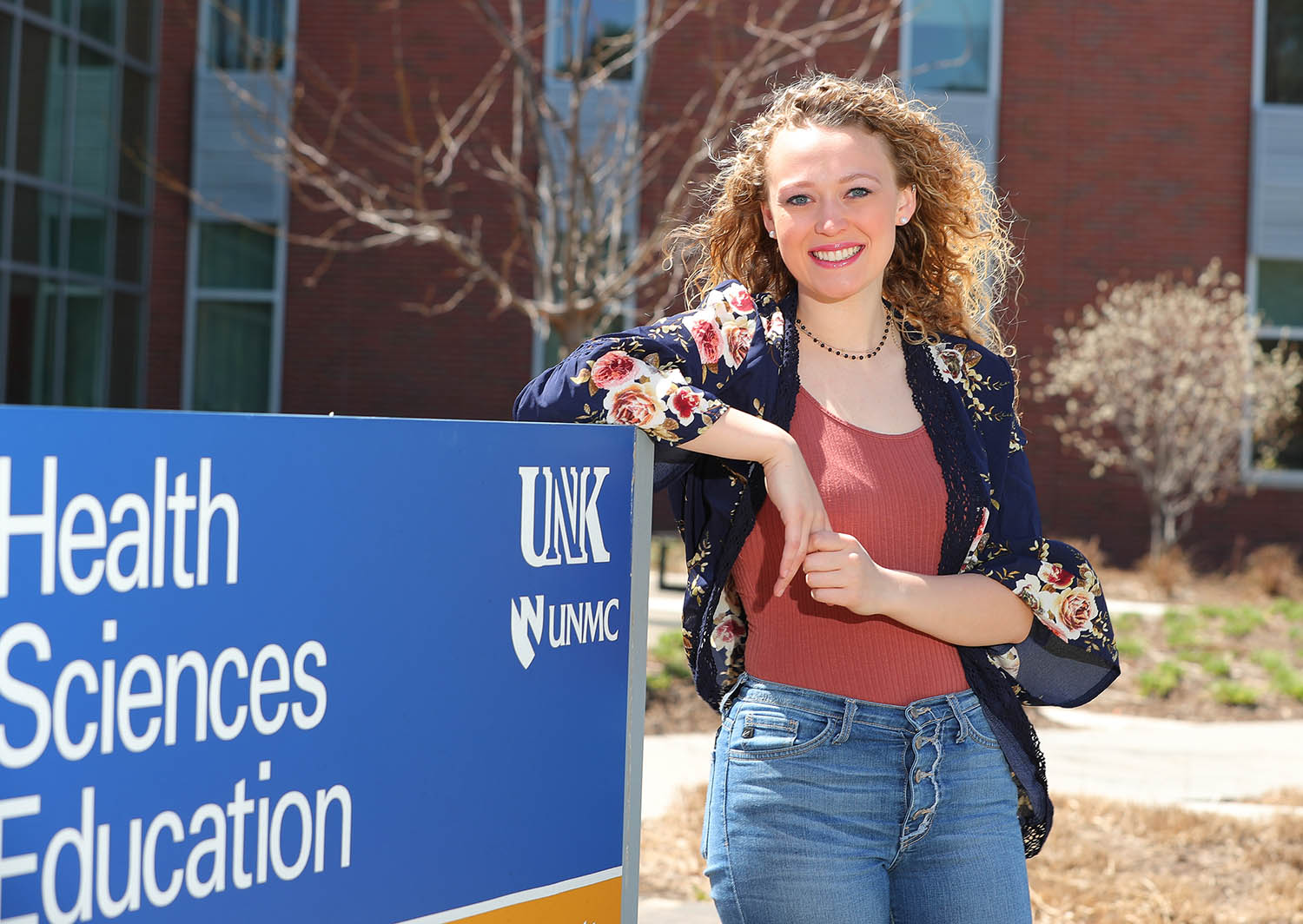"""UNK sophomore Maci Kroupa, a pre-nursing student from Hadar, says the coronavirus pandemic has strengthened her decision to join the profession. """"I'm so inspired by everyone who is working longer shifts, under mountains of personal protective equipment, and they're still doing their best to advocate for patients. They go to work every day knowing they're putting their own health at risk, but they still want to be there for their patients."""" (Photos by Corbey R. Dorsey, UNK Communications)"""