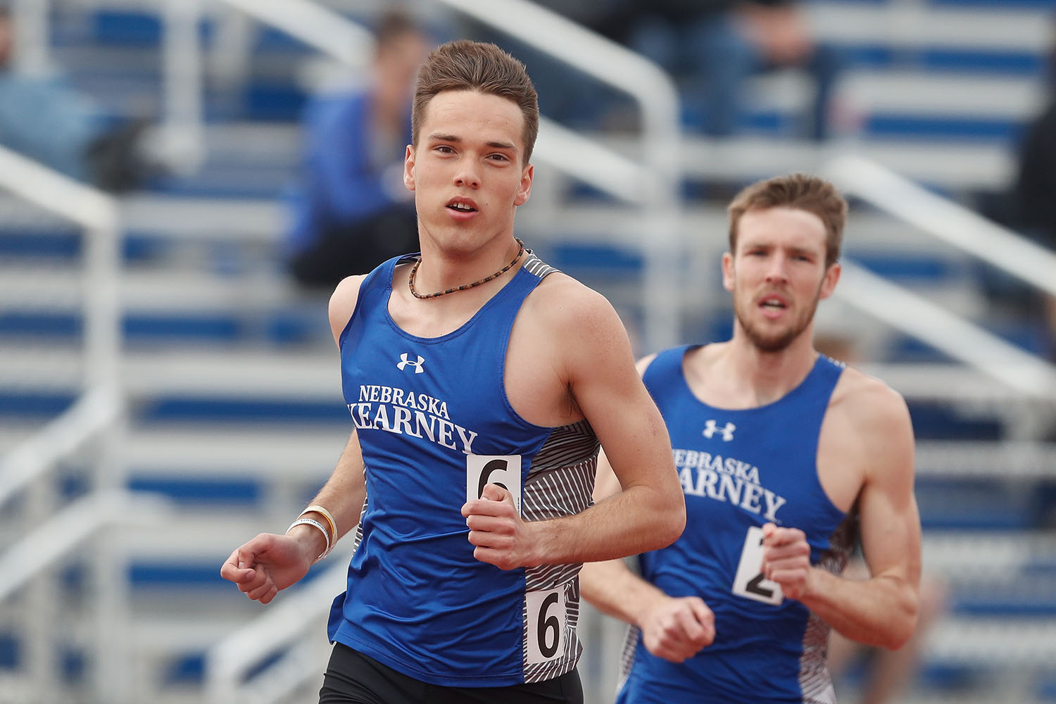 Nate Pierce, left, ranks third in UNK history in the outdoor 1,500-meter run (3:52.65), fifth in the indoor mile (4:10.75) and eighth in the indoor 1,000-meter run (2:31.18). He was also part of the distance medley relay team that set UNK and MIAA Indoor Track and Field Championships records with a time of 9:55.17. (Photo by Corbey R. Dorsey, UNK Communications)