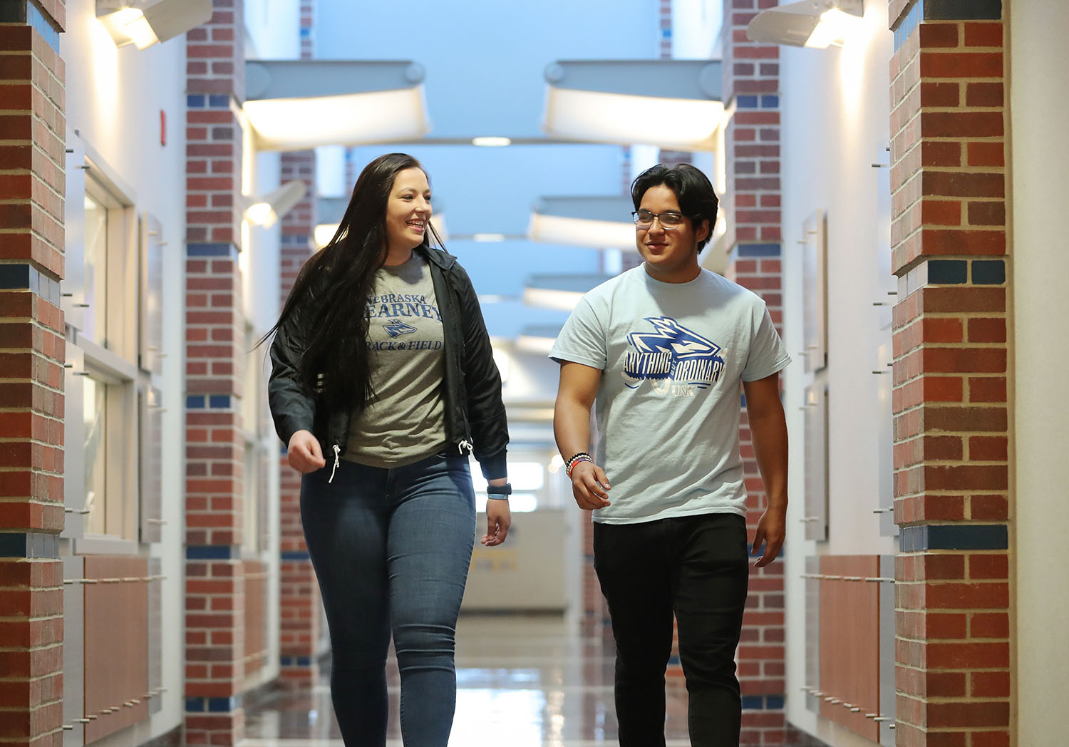 Logan Prater of Colorado Springs, Colorado, and Daniel Ocampo of Omaha both decided to attend UNK because of the financial assistance they receive through scholarships. (Photo by Corbey R. Dorsey, UNK Communications)