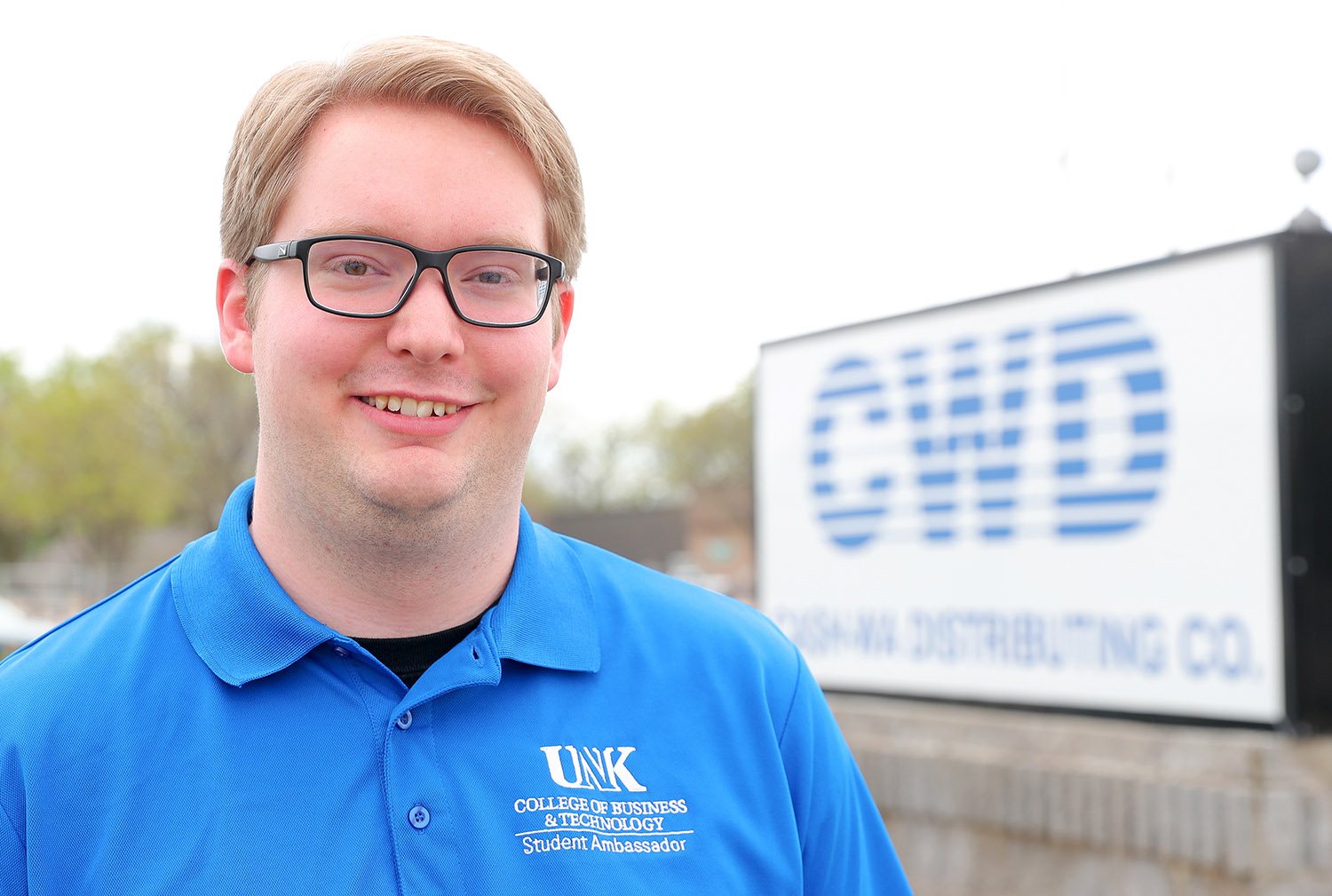 Andrew Burival is the first person to earn a professional sales certificate from UNK. Burival also graduated last week with a bachelor's degree in business administration with an emphasis in supply chain management. The O'Neill native works full time in the purchasing department at Cash-Wa Distributing in Kearney. (Photo by Corbey R. Dorsey, UNK Communications)