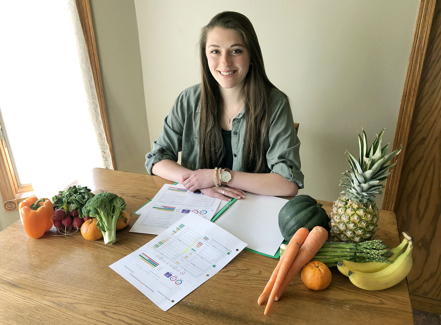 Sophomore Jennica Delvaux was one of 17 students from the advanced nutrition course who worked with UNK employees this semester to help them improve their eating habits and pursue a healthier lifestyle. (Courtesy photo)