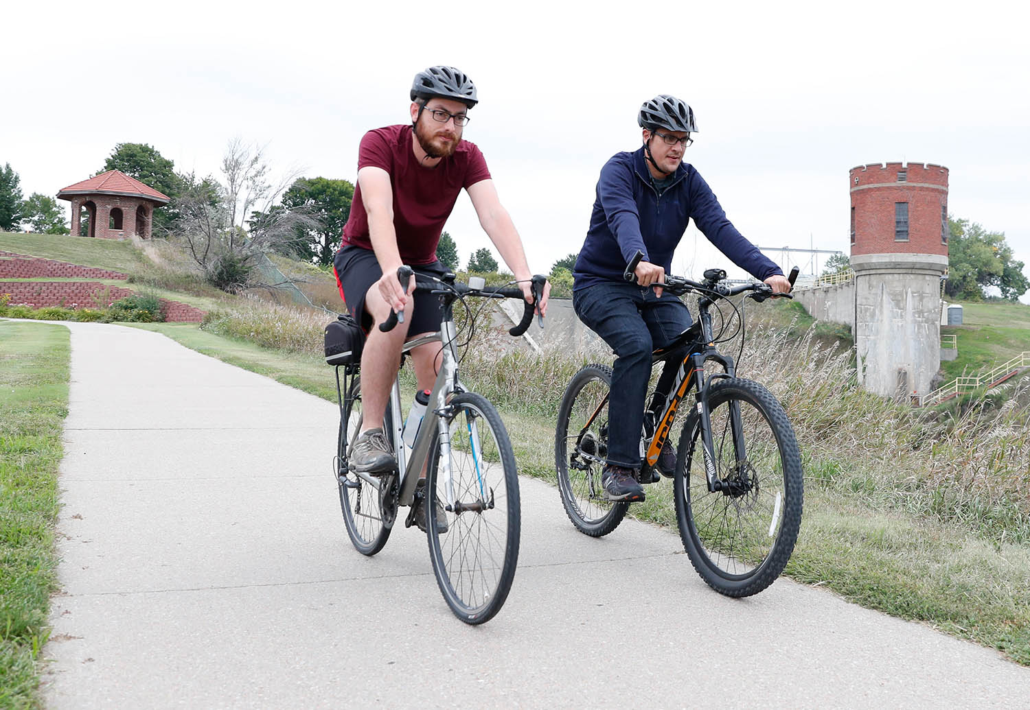 "UNK faculty members Will Stoutamire and David Vail hope to resurrect ""Pedaling the Past,"" a program they launched in 2018 that took bicyclists on a historical tour of Kearney landmarks. (Photo by Corbey R. Dorsey, UNK Communications)"