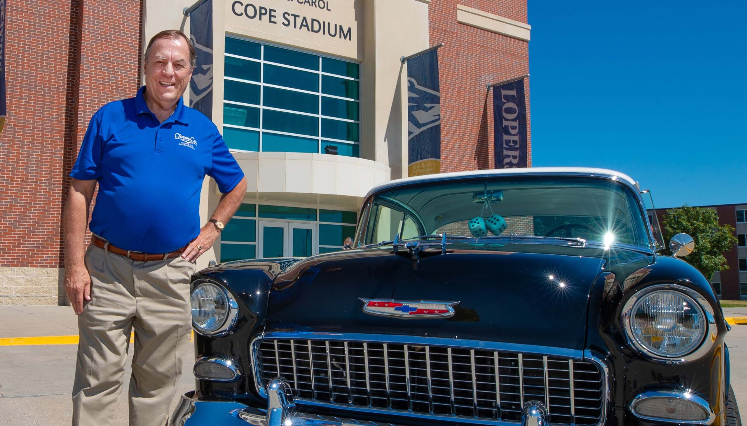 Brad Kernick loves classic cars and Loper football. He serves as chairman of the annual Cruise Nite celebration in Kearney and the Loper Football Backers event, which raises money for UNK student-athlete scholarships. (Photo by Corbey R. Dorsey, UNK Communications)