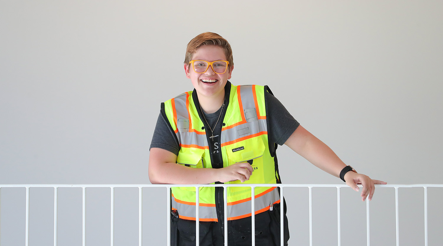 """""""I took an intro to construction management class and I was like, 'This is it. This makes sense for me. This checks all my boxes.'"""" – Velerianna Garcia, construction management major from Norfolk"""