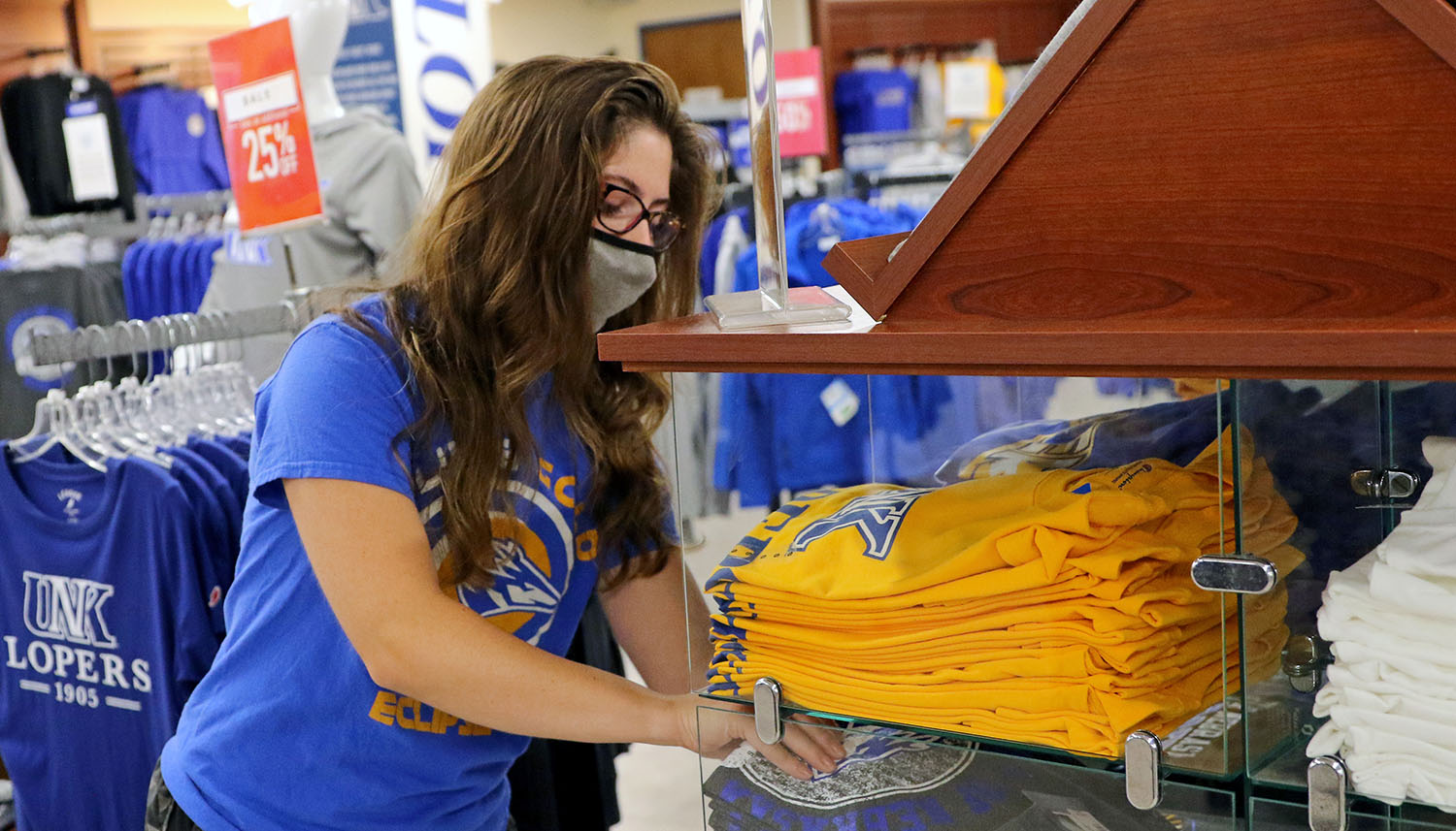 The Antelope Bookstore in UNK's Nebraskan Student Union has several safety measures in place to protect customers and the campus community this fall, including limiting the number of people allowed in the store at one time.