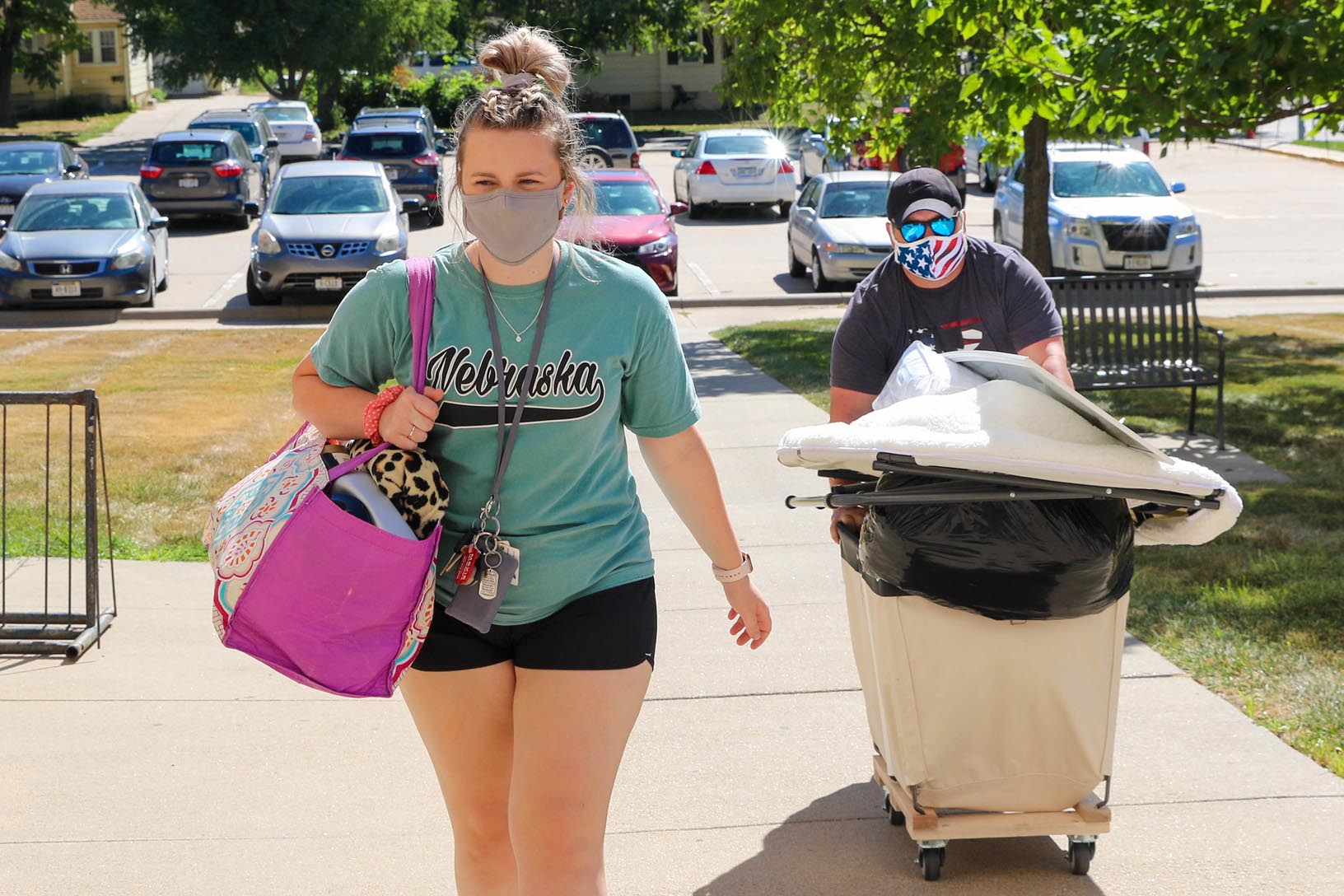 UNK freshman Morgan Bice of Hickman and her father Chad move items into the Centennial Towers East residence hall on Monday morning. Bice will begin classes next week in UNK's pre-nursing program. (Photos by Todd Gottula, UNK Communications)