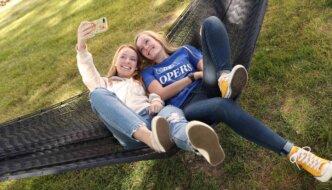 photo of students in hommock taking selfie