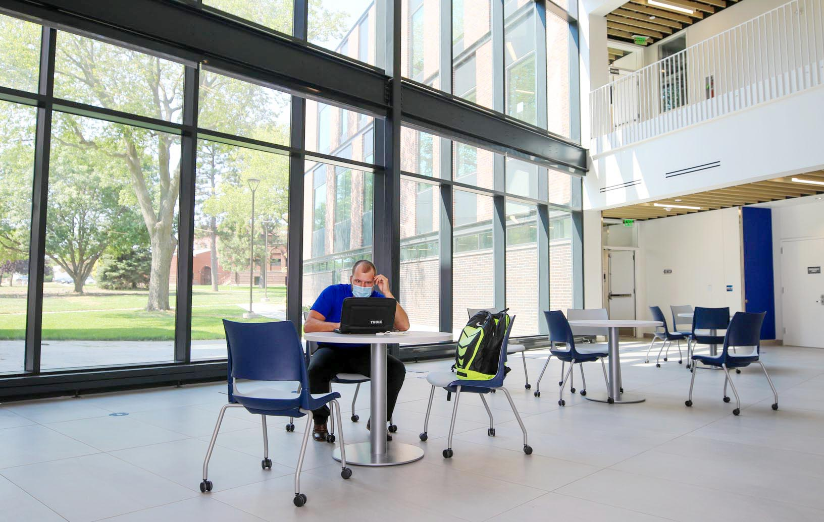 Discovery Hall features plenty of natural lighting and several common areas where students can study or relax between classes.