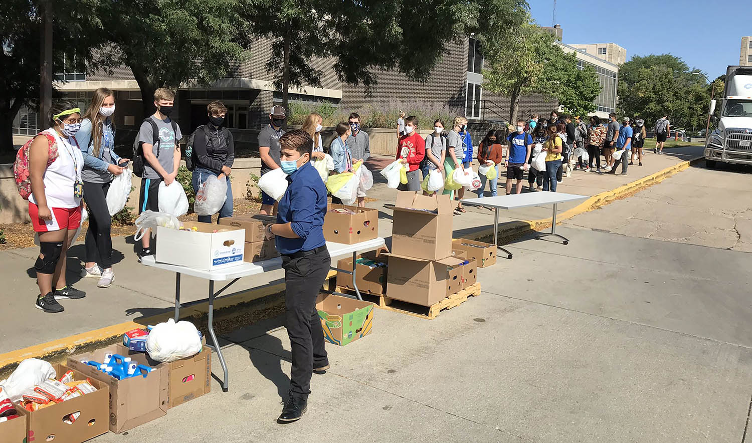 More than 340 students received fresh produce, dairy and meat Monday during a food giveaway on the UNK campus.